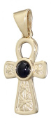 VERY ATTRACTIVE Hobra GOLD CROSS 375 GOLD SAPPHIRE GOLDKREUZ WITH PENDANT GOLD WITH SAPPHIRES