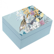 Beautiful Botanical Style Blue Jewellery Box Gift New
