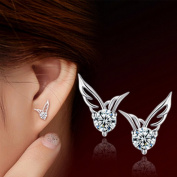 HuntGold Shining Angel Wings Shape Crystal Silver Earring Pierced Ear Studs