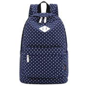 S-ZONE Lightweight Polka Dot Canvas Backpack 36cm - 38cm Laptop PC School Bag for Teenage Girls