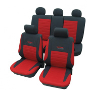 Cartrend 60121 Active Seat Cover Complete Set Red with Doku Stitching
