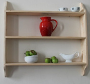 Solid wood natural ready to paint pine three tier shelf 90cm