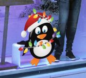 Christmas Penguin Double Sided Window Cling - Seasonal Window Decorations by Stickers4