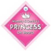 Mummy & Daddy's Princess On Board Car Sign, Princess On Board, Princess Car Sign, Mother, Mum, Dad, Father, Car Sign, Baby On Board Sign,Baby on board, Novelty Car Sign, Baby Car Sign