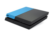 BLACK Carbon Fibre & BLUE MATT TWO TONE Accessory Wrap Sticker Skin Cover Decal for Playstation 4 PS4