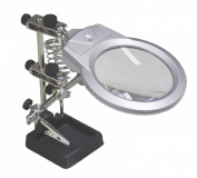 Illuminated Helping Hands with 90 mm Magnifier Lens, Soldering Iron Rest, 2 Articulated Arms and 2 LED lights