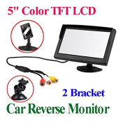 BW® 13cm TFT-LCD Security Digital Car Monitor Car View Monitor with Two Brackets and Two Video Input, High -resolution Picture & Full Colour LCD Backlight Display For Car Rear View Cameras/Car DVD/VCD/GPS/other Video Equipment