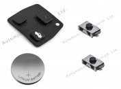 DIY Repair kit - for Toyota 2 or 3 button remote key fob - rubber pad 2 switches CR2016 battery