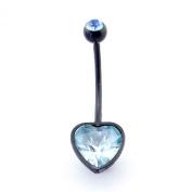 Aquamarine Heart Crystal gem extra long Black Flexible Acrylic Pregnancy Belly bar 14G