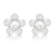 Tuscany Silver Flower and Pearl Stud Earrings