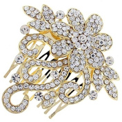 Gold and Austrian Crystal Flowering Bridal Hair Comb Clip