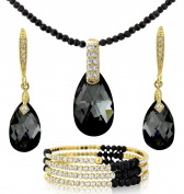 BLACK AND 18K GOLD TONE TEAR DROP BRACELET NECKLACE EARRINGS SET. ELEMENTS UK