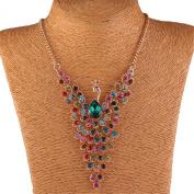 Colourful Peacock Bird Rhinestone Beaded Wing 18K Gold Y Bib Collar Necklace