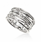 Elements Sterling Silver Ladies Wrapped Wire Style Small Ring with CZ
