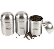 3PC CANISTERS COFFEE SUGAR TEA STAINLESS STEEL STORAGE JARS POT KITCHEN SET NEW