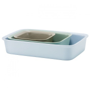 Rig-Tig Stoneware Cook and Serve 3-Piece Ovenproof Dish, Grey/ Green/ Blue