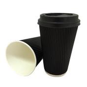 100 x 350ml BLACK Triple Ripple Paper Wall Disposable Tea Coffee Cappuccino Hot Drinks CUPS & BLACK LIDS UKB779 UKB457