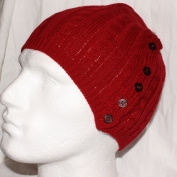 Ladies Mens Unisex Knitted Beanie Hat with Buttons