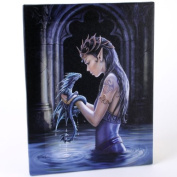 Fantastic Anne Stokes Design Water Dragon - A Gothic Fairy With Her Baby Dragon Canvas Picture on Frame Wall Plaque / Wall Art