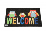 EHC 40 x 70 cm Welcome Owl Tough Coir PVC Entrance Door Mat