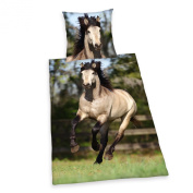 Grey Horse Single Cotton Duvet Cover and Pillowcase Set