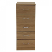 Boldon Budget Bedroom Furniture - 5 Drawer NARROW Chest of Drawers - Oak