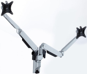 GSW250D Gas Spring wall mount dual monitor stand with diagonal extension arm section