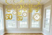 Amscan International Golden Anniversary Hanging Swirl Decorations, Pack of 12