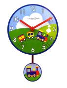 Nursery Railway Train Design Childrens Bedroom Wall Clock with pendulum By London Clock Company