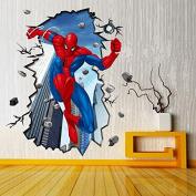 Huge Amazing 3D Spiderman Wall Stickers Boys Kids Bedroom Mural Art Wallpaper Decal