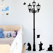 Lamp & Cat Bird Removable Wall Sticker Decal Kids Boys Girls Room Home Decor