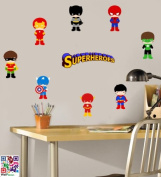 Childrens Super Heroes - Pack of 9 - Repositionable Wall Art Vinyl Stickers - Easy Peel & Stick
