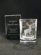 Burns Crystal Whisky Dram/Shot Glass Engraved with Highland Stag
