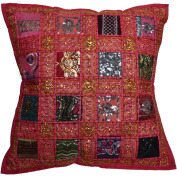 """16"""" Recycled Sari Cushion Cover 40cm Indian Moroccan Pink"""