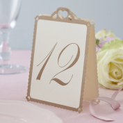 Ginger Ray Ivory & Gold Heart Table Tent Numbers 1-12 - Great for a wedding or party event