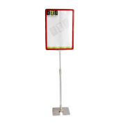 NEW RED ADJUSTABLE HEIGHT CUSTOM FLOOR DISPLAY STAND SIGN HOLDER POSTER FRAME A4