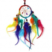 Small 6cm Cool & Colourful Rainbow Feather Dreamcatcher - Fair Trade - Hand Made.