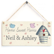 Home Sweet Home - Names / Family Name Personalised Wooden Sign Gift