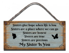 Funny Sign Shabby Chic Wooden Wall Plaque Sisters Give Hope When Life Is Low Gift Present