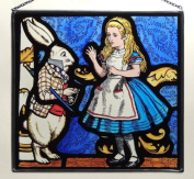 Decorative Hand Painted Stained Glass Rectangular Panel in an Alice and White Rabbit Design.