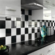 Print 247 easy apply 50 Black 15cm X 15cm Square Bathroom/Kitchen Tile Stickers Cheap and cost effective