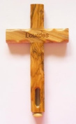 Catholic Gifts - OLIVE WOOD Cross - Made in Jerusalem with a LOURDES WATER CAPSULE