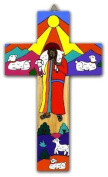 Wood Cross.15cms Hand Painted Cross. Wall hanging cross. Perfect Holy Communion Gift