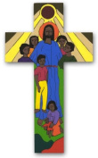 Hand painted cross 10cms. Christ with the children. Wooden Cross. Wall hanging cross
