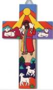 Hand painted Cross. The Good Shepherd. Wall Hanging Cross. 25cms.