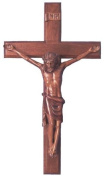Christian brown wooden Corpus hanging Cross 40cm large long wall