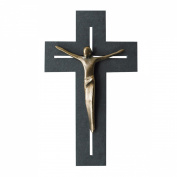 Slate Wall Cross with modern bronze corpus