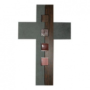 Decorative slate cross with wooden part and coloured glas elements, 27 x 18 cm