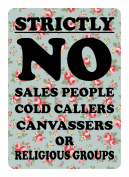 Small 4cm x 5.5cm FLORAL NO SALESMAN COLD CALLERS CANVASSERS LABEL DOOR WINDOW STICKER SIGN SALESMEN Small 4cm x 5.5cm