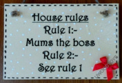 Wooden Kitchen Wall Signs : Mums House Rules ~ Mother Day ~ Birthday Gift